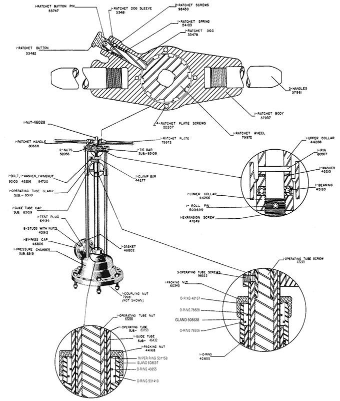 Stopping machine repair parts drawing.